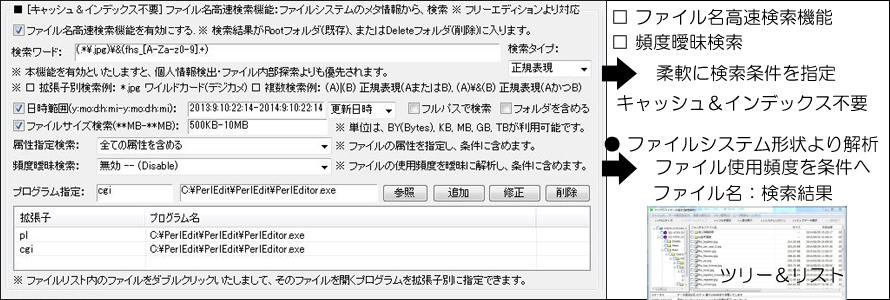ファイル名高速検索機能